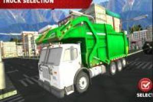 Garbage truck cleans the city