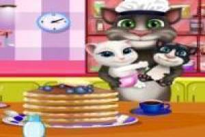 Talking tom kitchen with and his family