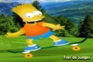 Bart Simpson skateboarding through the woods