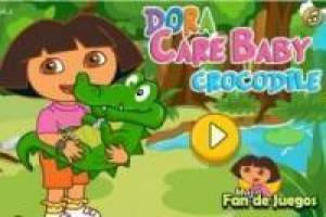Dora the Explorer caring for a crocodile