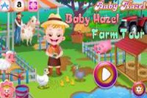 Baby Hazel has fun at her uncle Sam's farm
