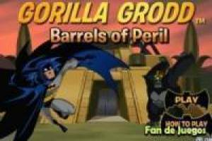 Batman vs gorilla and barrels