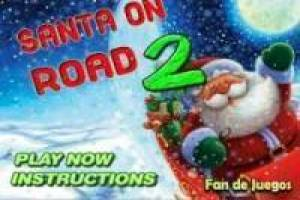 Santa Claus drives on the highway
