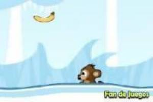 The monkey eats bananas