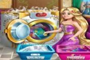 Washing and ironing clothes princesses