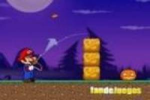 Mario shoots the pumpkins