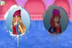 Princesses ice skate in the winter