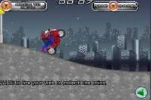 Spiderman en su motocicleta