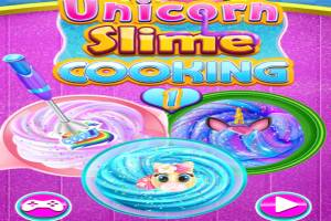Kitchen with unicorn slime and glitter
