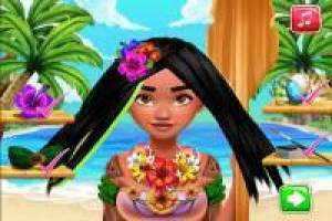 Comb Moana with a nice hairstyle