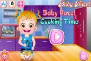 Baby Hazel has fun cooking