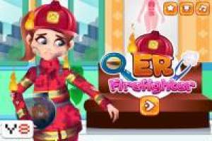 Firefighter girl in emergency