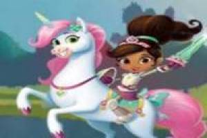 Nella jumps with Trinket the unicorn