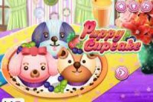 Prepare funny cupcake of puppies