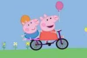 Peppa Pig and George Pig on a bicycle