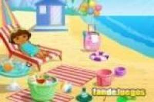 Dora travels to the beach