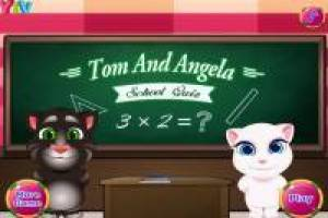 Talking Tom and Angela at school