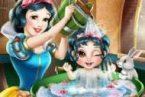 Snow white bathing your baby