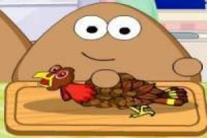 Pou Kochen Truthahn für Thanksgiving Day
