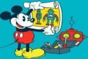 Mickey Mouse creates robot in the lab