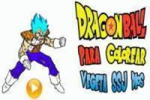 Coloriage Végéta SSJ Dieu: Dragon Ball